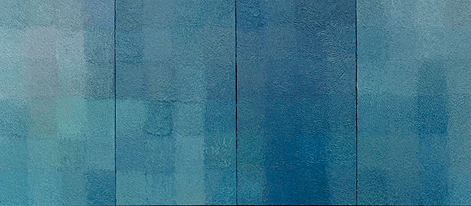 """Rain and Ocean II"" Oil on linen (four panels), 26in x 80in, 1999"